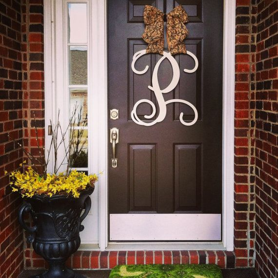 Monogram Front Door Decoration: Custom Single MONOGRAM Door Hanger / BURLAP Bow/ House