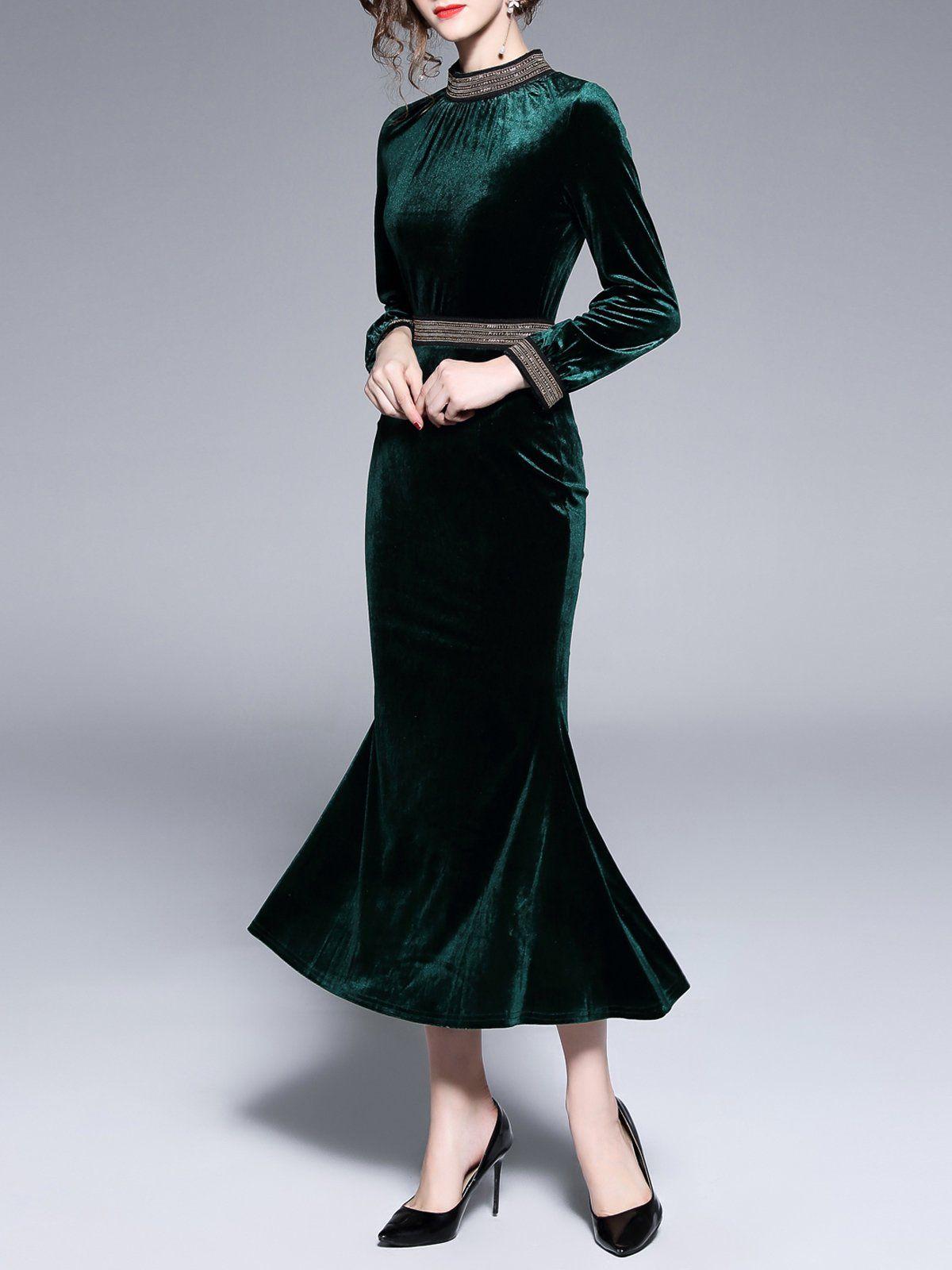 Dark Green Velvet Standing Collar Dress Green Velvet Dress Green Velvet Skirt Dresses [ 1600 x 1200 Pixel ]