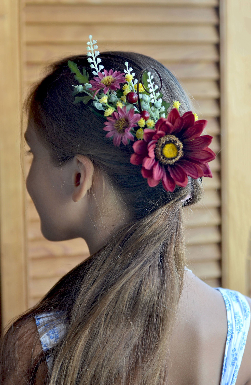 Fall Wedding Comb Burgundy Flowers Hair Piece Autumn Bridal Comb
