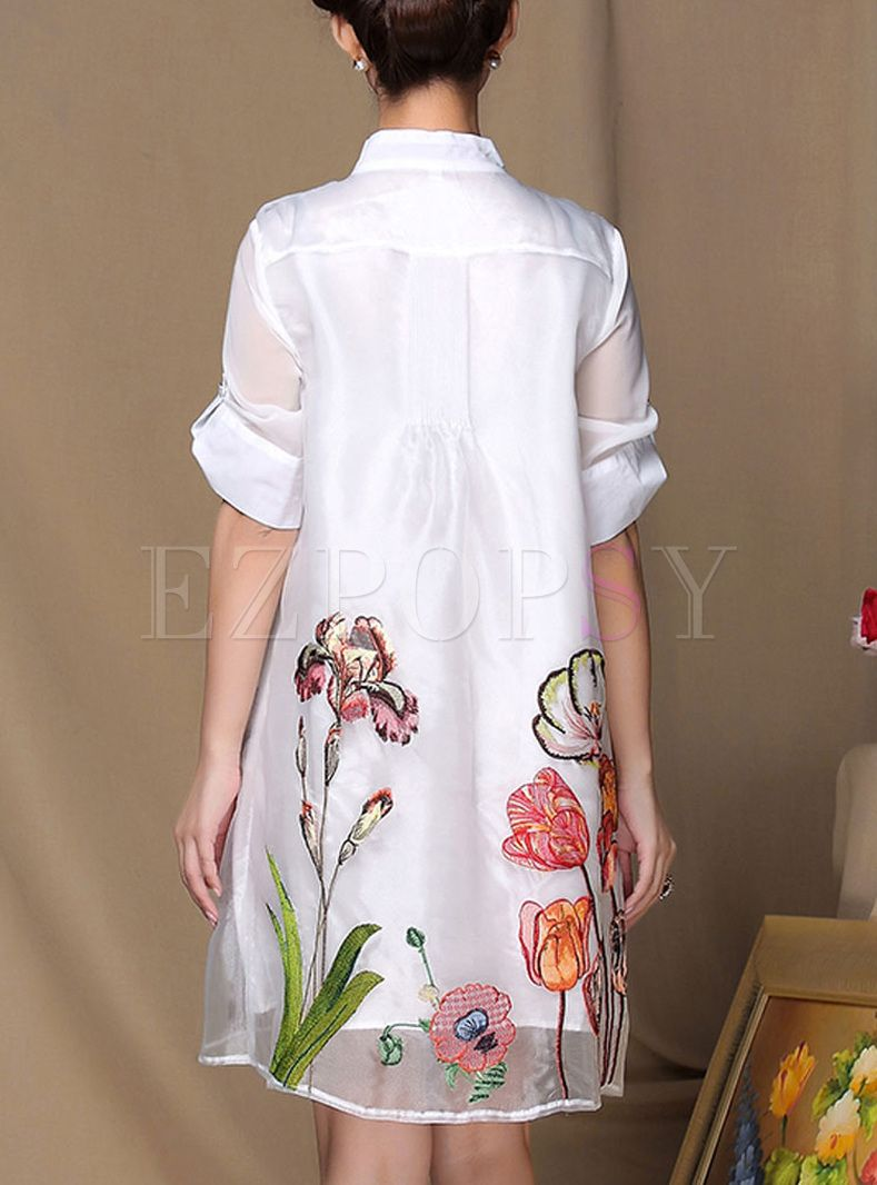 Loose organza embroidery dress gardens pinterest embroidery