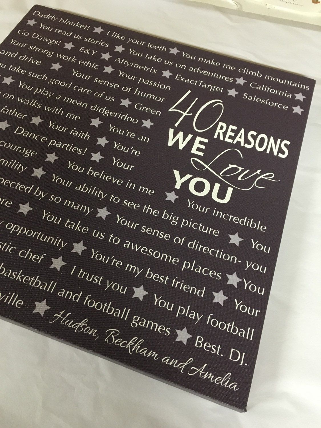 Reasons we love you, 16th, 21st, 30th, 40th, 50th, 60th