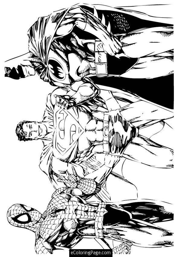 Superheroes Spiderman Superman And Batman Coloring Page