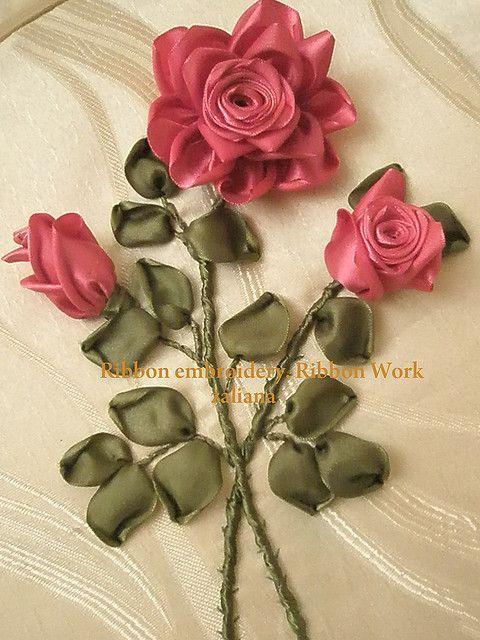 roses cintas bordado y bordados en cinta. Black Bedroom Furniture Sets. Home Design Ideas