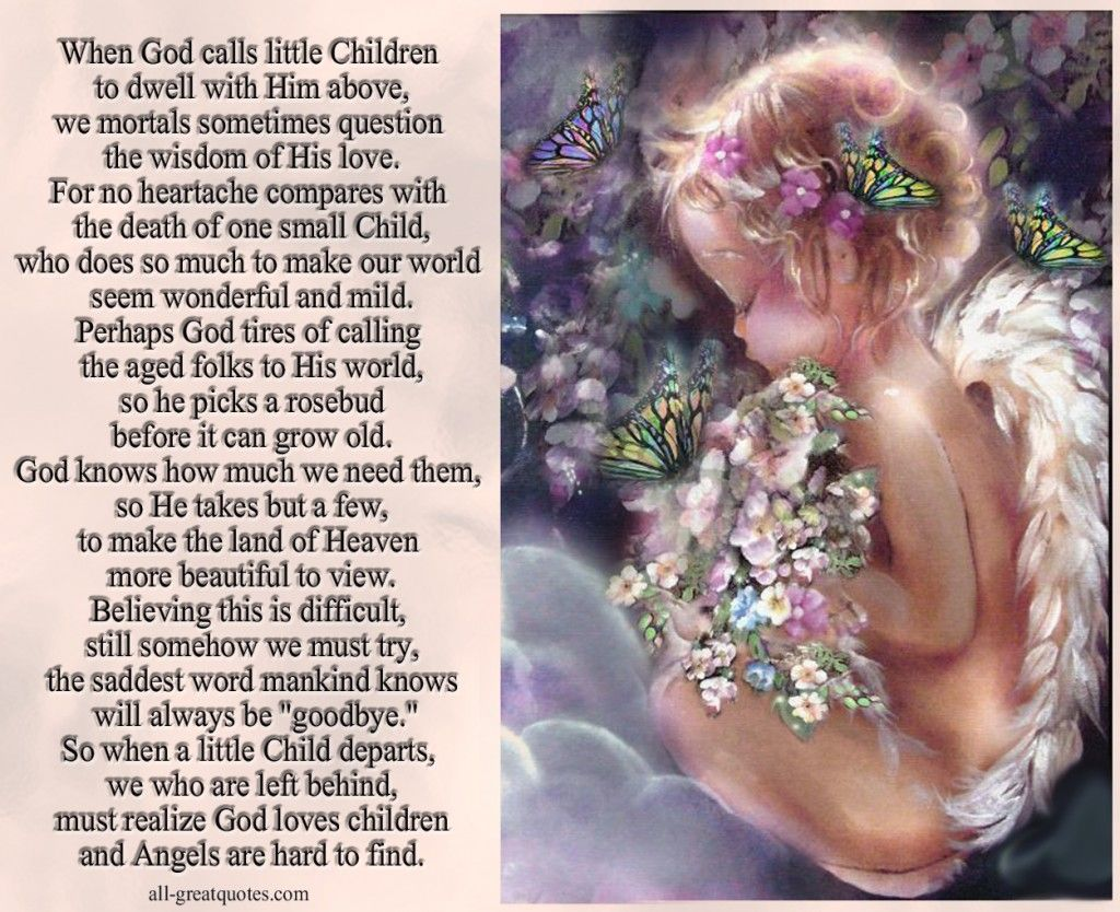 when god calls little children to dwell with him above
