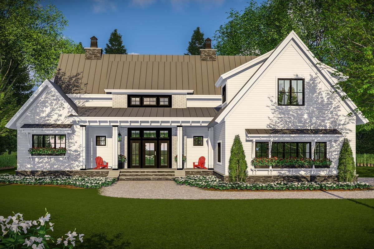 Plan 14661RK Modern Farmhouse with Vaulted Master Suite