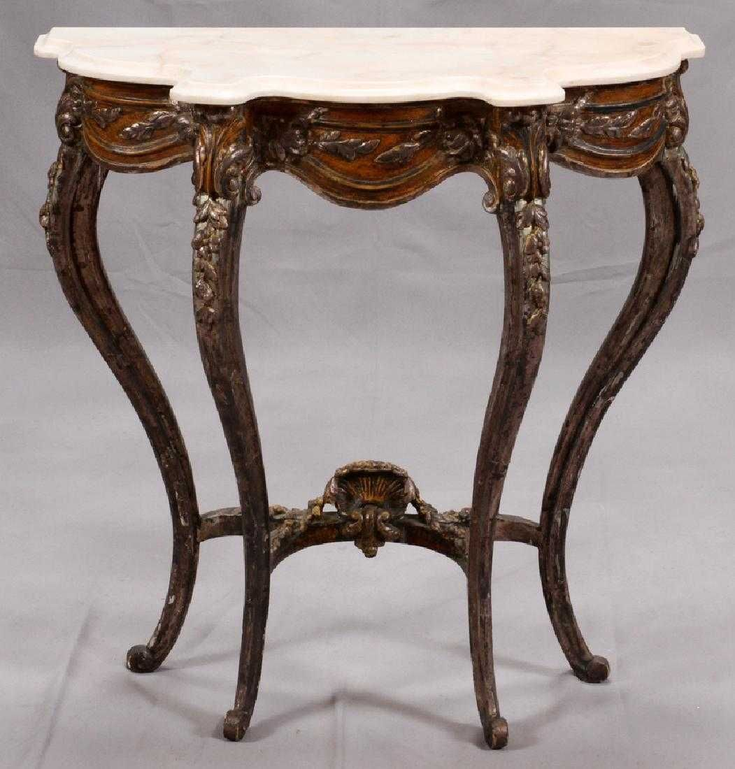 Painted Carved Wood Console Table