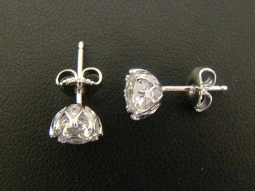 Tacori Solid 925 Sterling Silver Cz Diamonique Bloom Cut Earrings 3 0 Cttw 2 2g