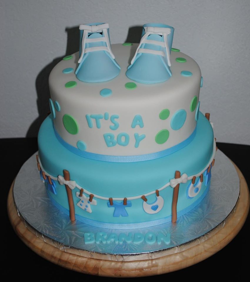 Baby Shower Cake It's A Boy! White, Green And Blue Cake With Edible Baby Shoes On Top And Very
