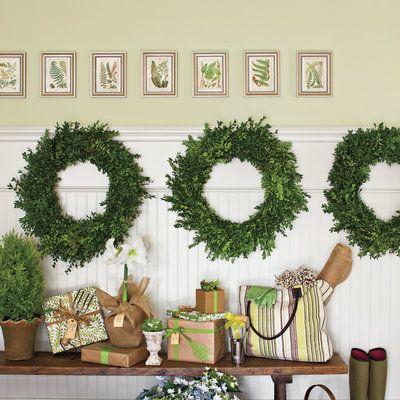 Hang Wreaths on Wainscoting - Festive Christmas Wreaths - Southern Living