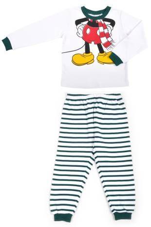 Pijamas para niño, en color blanco y con rayas verdes. Estampado con ...
