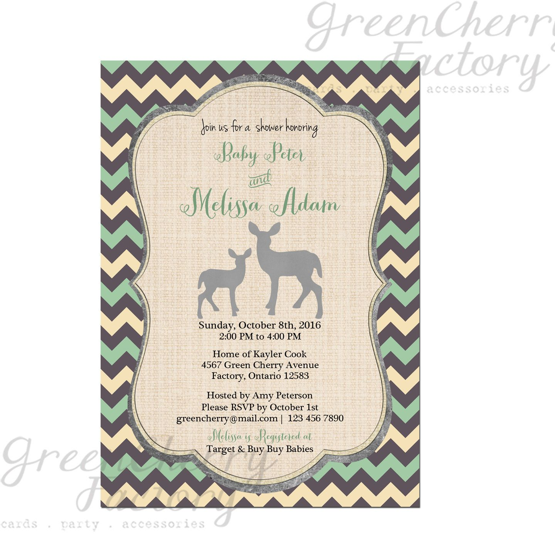 Woodland Baby Boy Shower Invitation Green By Greencherryfactory, $1800