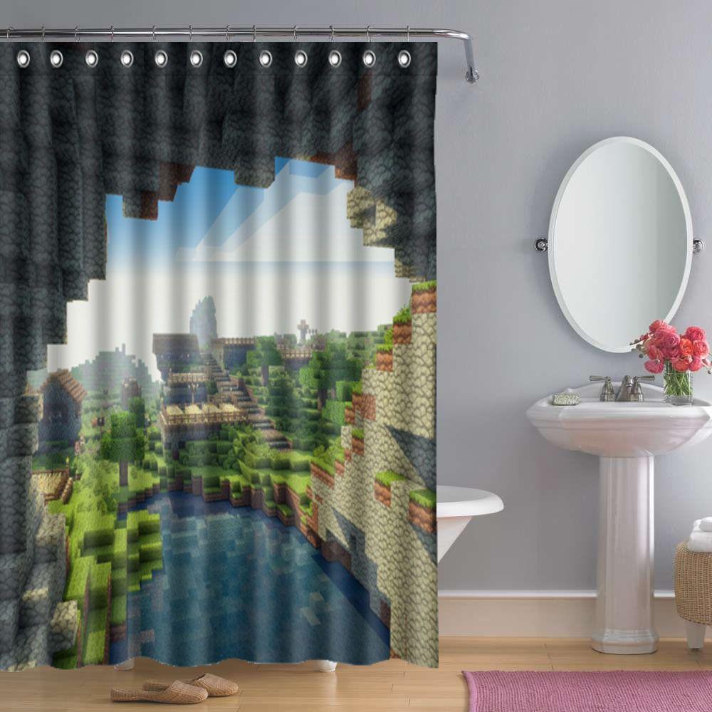Bathroom Minecraft Creeper Shower Curtain | Shower curtain ...