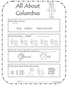Christopher Columbus Assessment | Columbus and Colonial Times ...