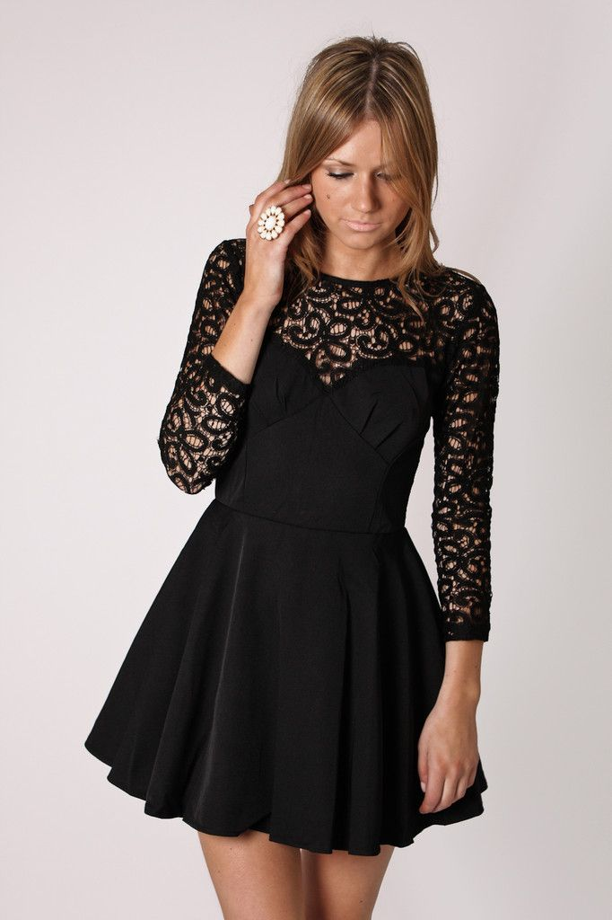 Peaceful Long Sleeve Lace Tunic Dress Black