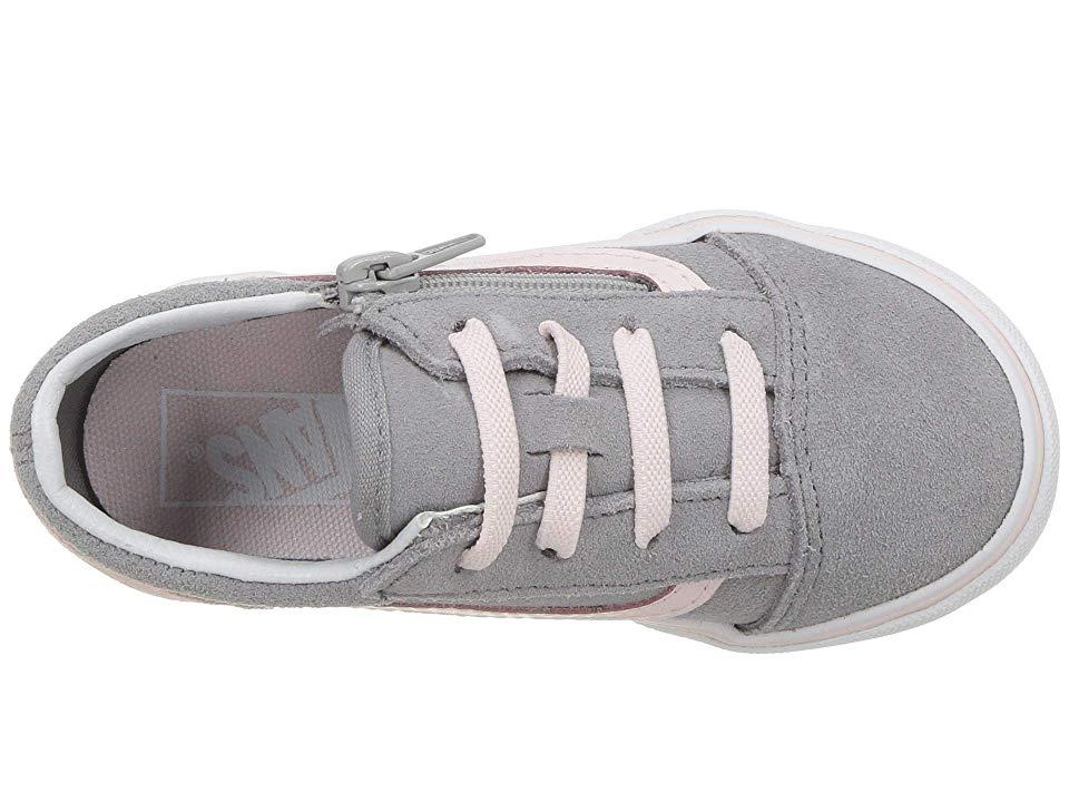 754f4767b5 Vans Kids Old Skool Zip (Infant Toddler) Girls Shoes (Suede) Alloy Heavenly  Pink True White