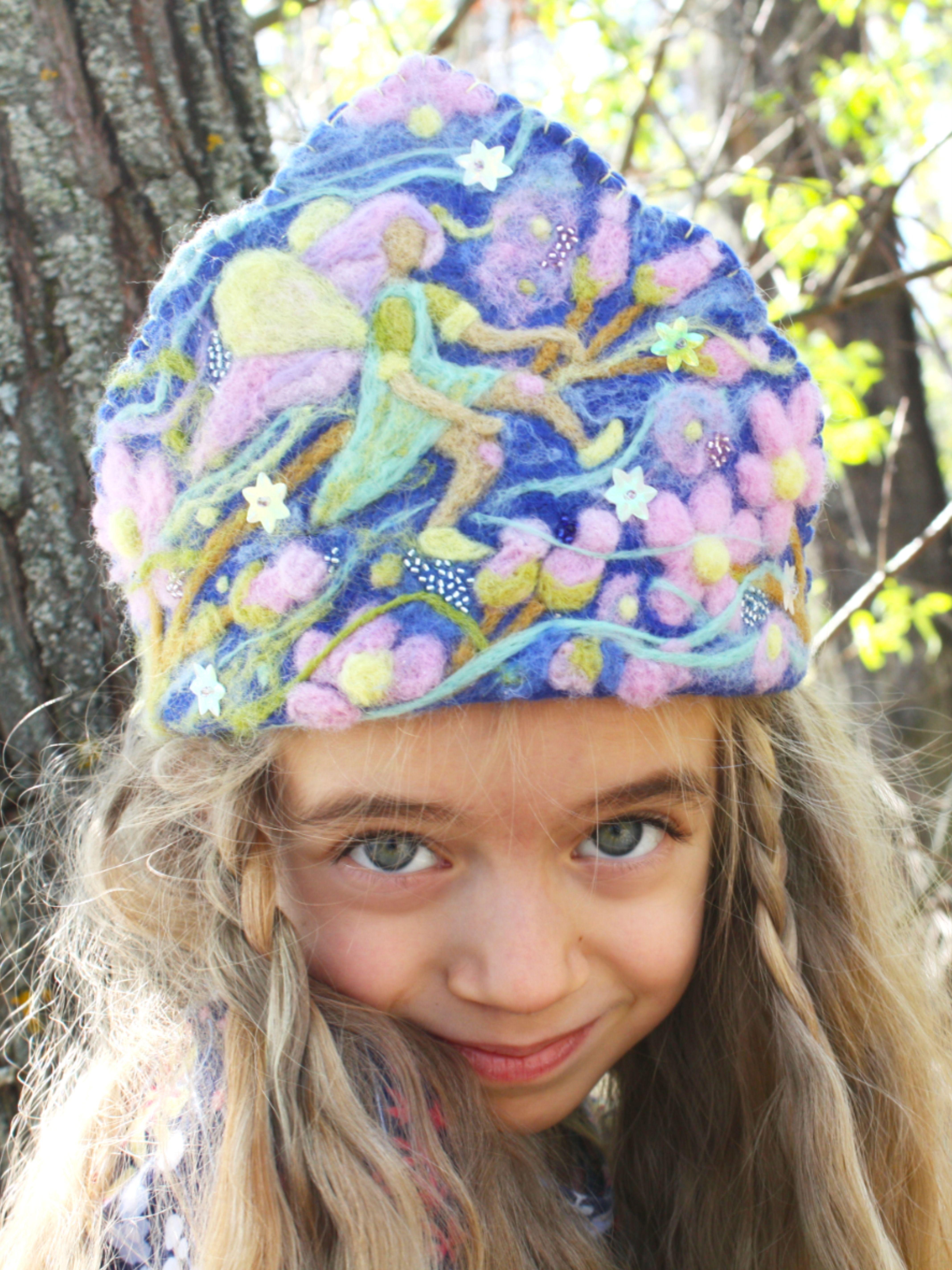 Felt flower crown, waldorf inspired girl crown
