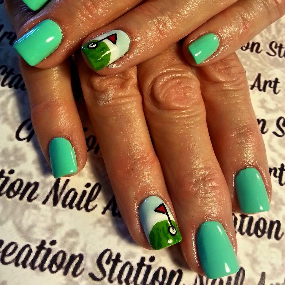 cute golfing nail design