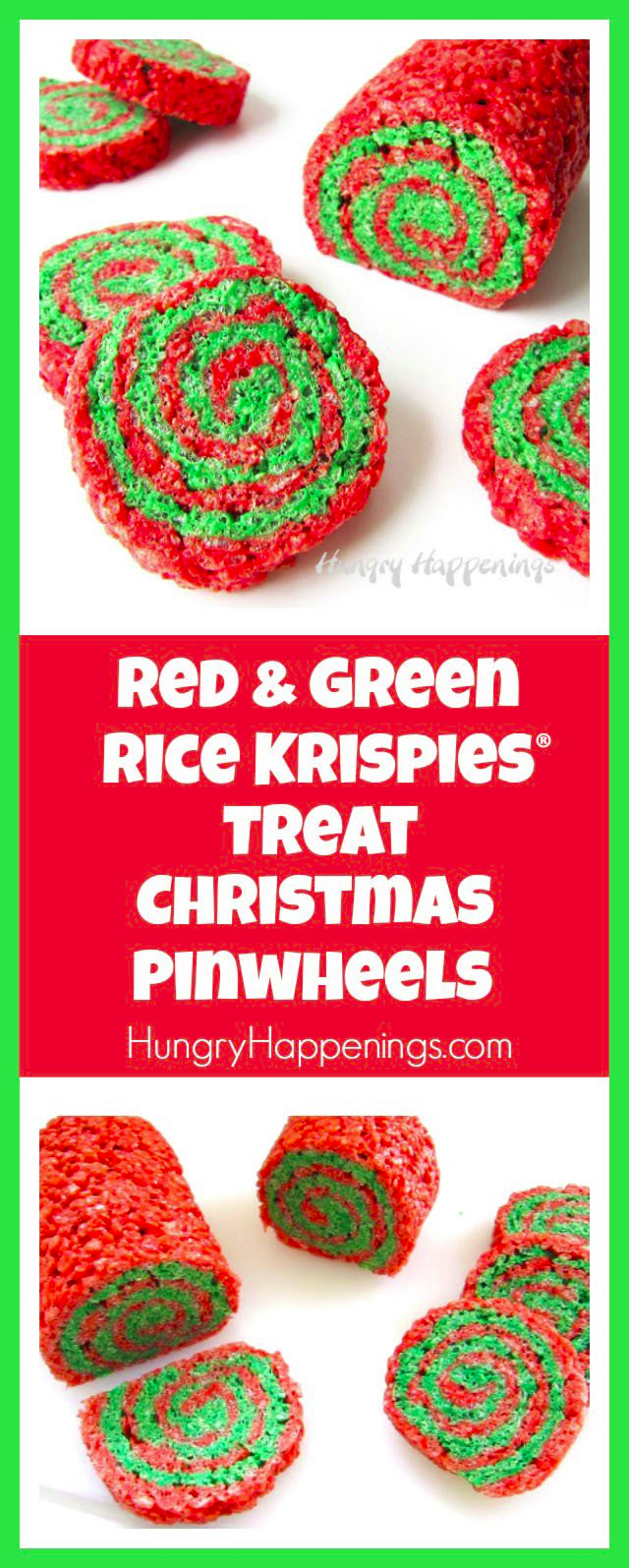 Red and Green Rice Krispies® Treat Christmas Pinwheels #ricekrispiestreats