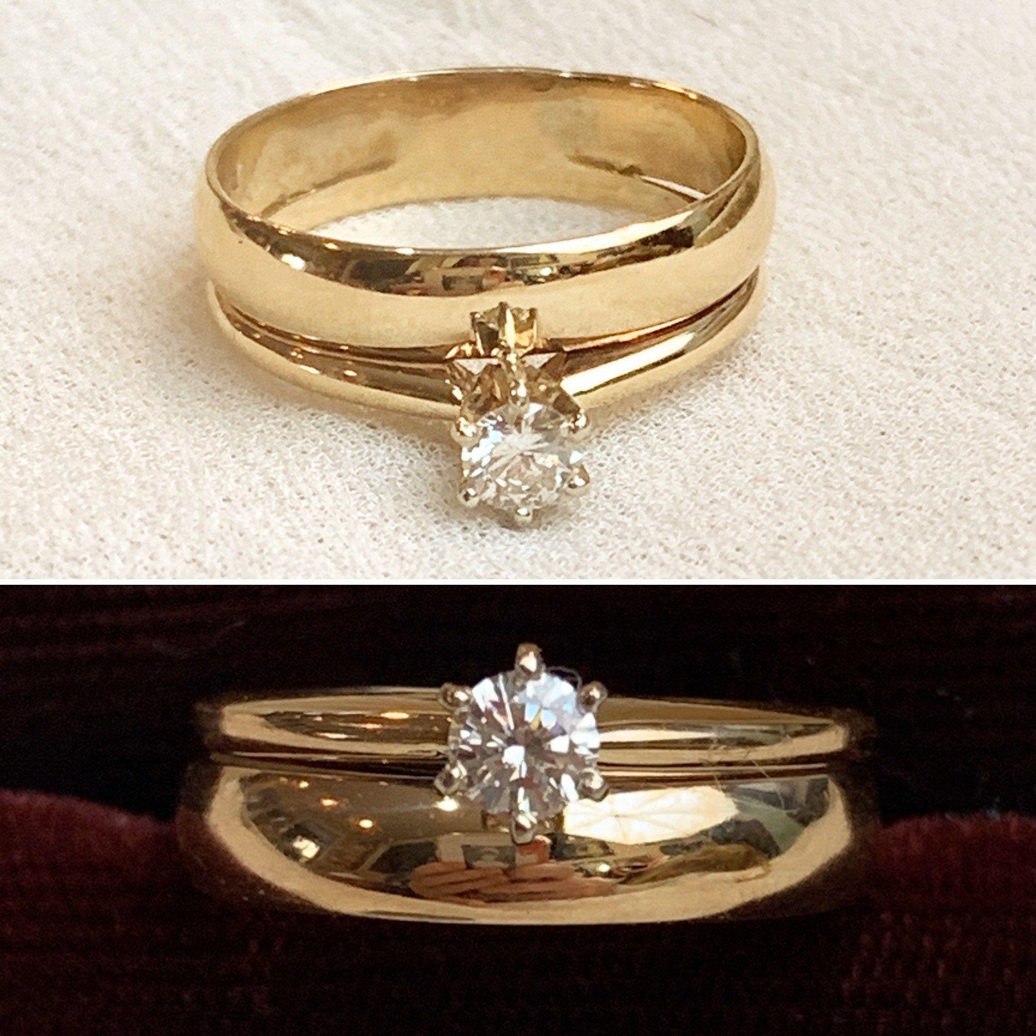 10k Plumb Gold Round Diamond Solitaire Bridal Set Vintage 10k Etsy White Gold Diamond Engagement Gold Jewelry For Sale White Gold Diamonds