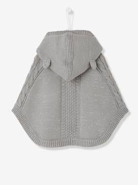 Poncho tricot irisé bébé fille à capuche gris irisé   Poncho