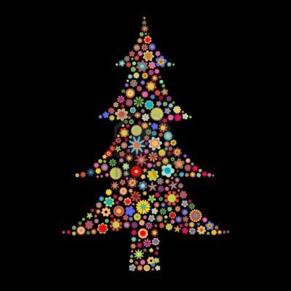 Vector illustration Christmas tree shape made up a lot of multicolored small flowers on the black background