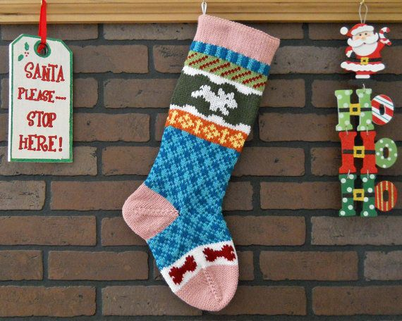 Colorful Hand Knit Christmas Stocking, Fair Isle Knit, PINK Cuff ...