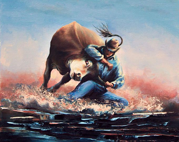 Western art rodeo bull riding cowboy steer wrestling ranch contemporary  wall art realistic oil painting on canvas gift f30726b77fab