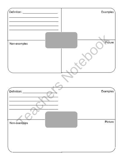 Blank Frayer Model Template Bing Images Teaching Classroom