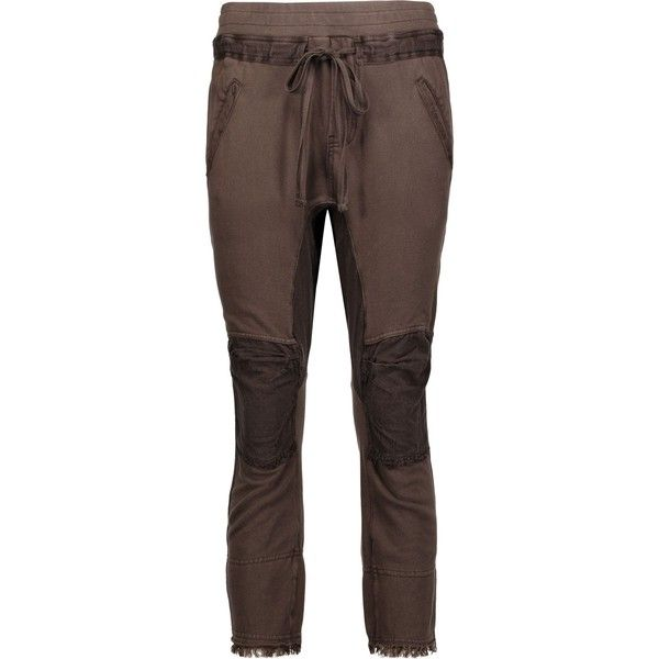 23b5a1021821 HAIDER ACKERMANN Fringed paneled cotton track pants ( 325) ❤ liked on  Polyvore featuring activewear