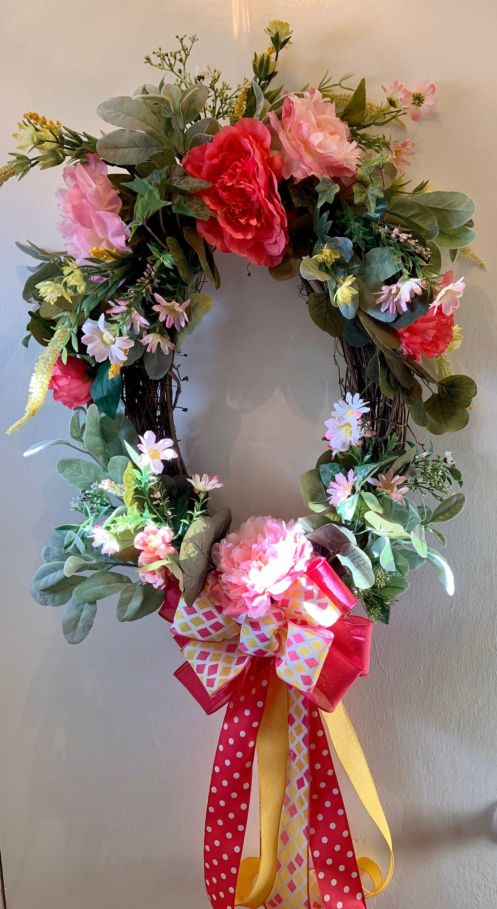 Photo of Spring grapevine wreath. Floral spring wreath. Spring wreath. Everyday wreath.