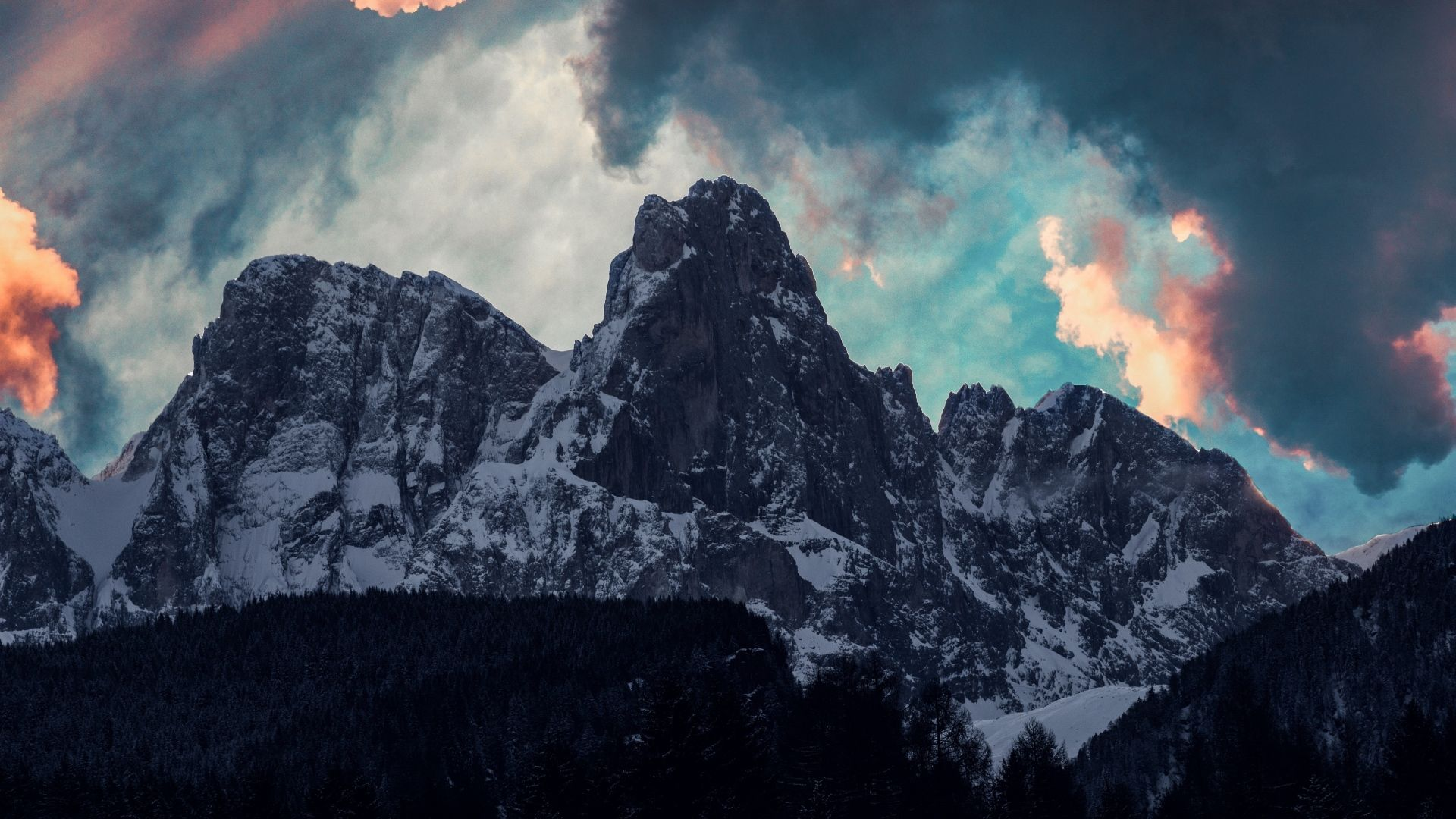 Download Wallpaper 1920x1080 Mountains, Clouds, Trees