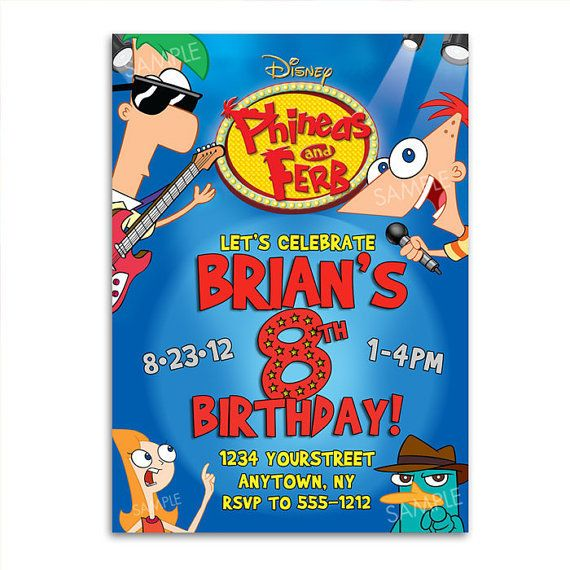 17 Best images about Phineas Ferb birthday – Phineas and Ferb Birthday Card