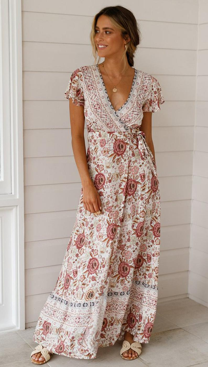 Bohemian Style Short Sleeve Plunging Printed Long Dress Etsy Boho Dresses Long Boho Maxi Dress Printed Long Dresses [ 1401 x 794 Pixel ]