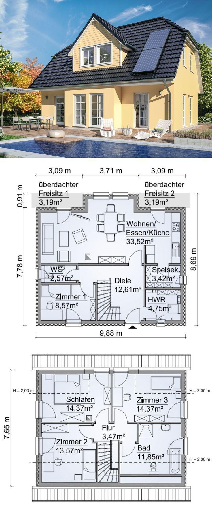 Einfamilienhaus Neubau modern im Landhausstil Grundriss