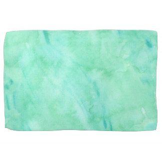 Mint Green Blue Watercolor Texture Pattern Kitchen Towel