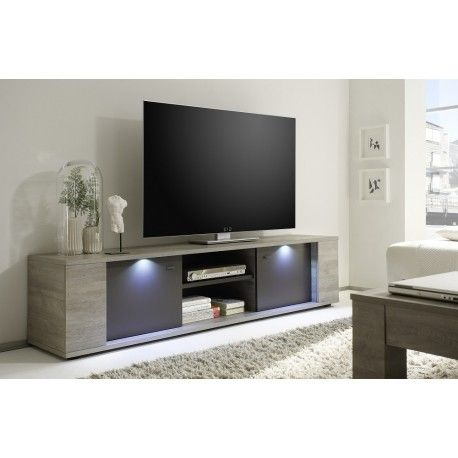 Palermo Tv Unit In Oak Grey Finish With Led Lights Tv Stands Large Tv Stands Modern Tv Stand Tv Stand Designs