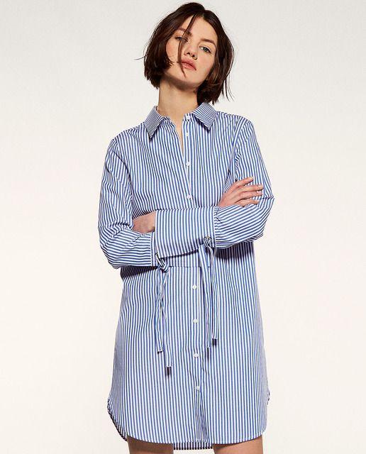Vestido Corto Tipo Camisa Abotonada Con Manga Larga Cierre