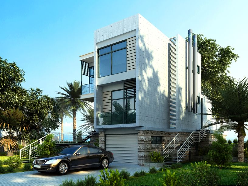 3 story white modern home design on the beach in the tropics with palm trees in the front yard