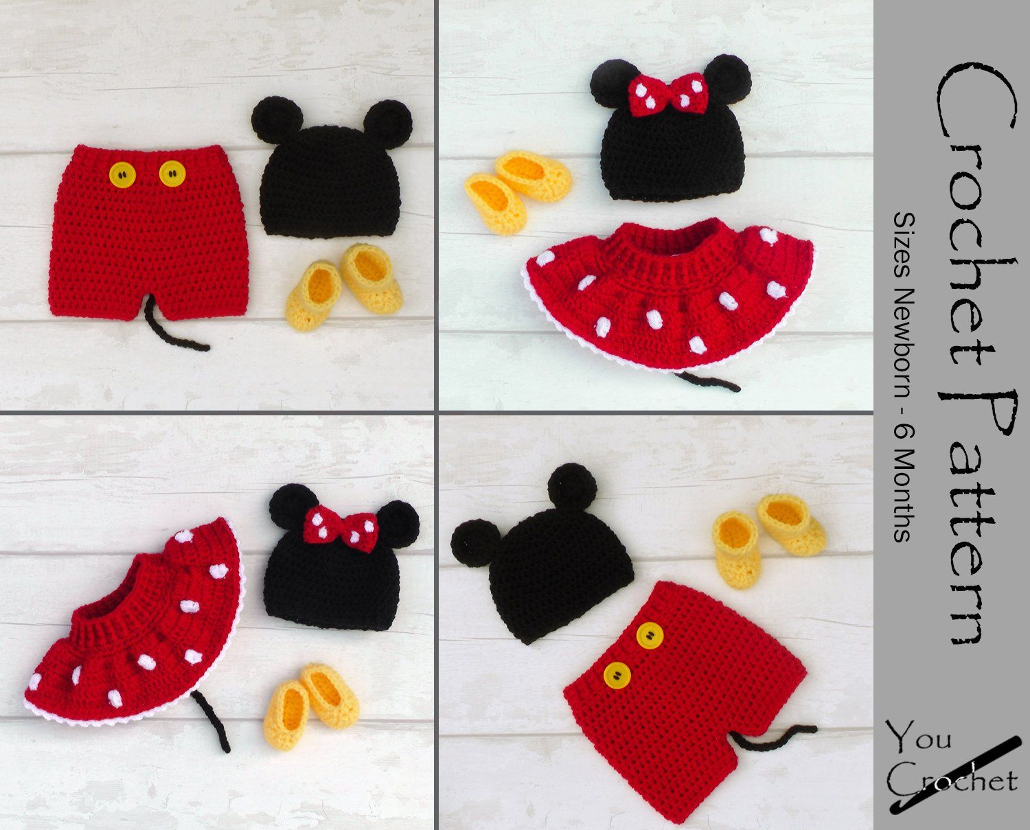 Two CROCHET PATTERNS Mickey/Minnie Mouse Sets Instant Download PDF 3 ...