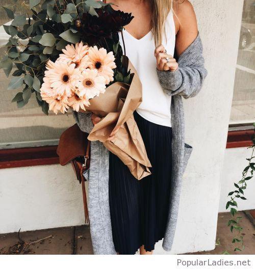 White top, black midi skirt and grey long cardi