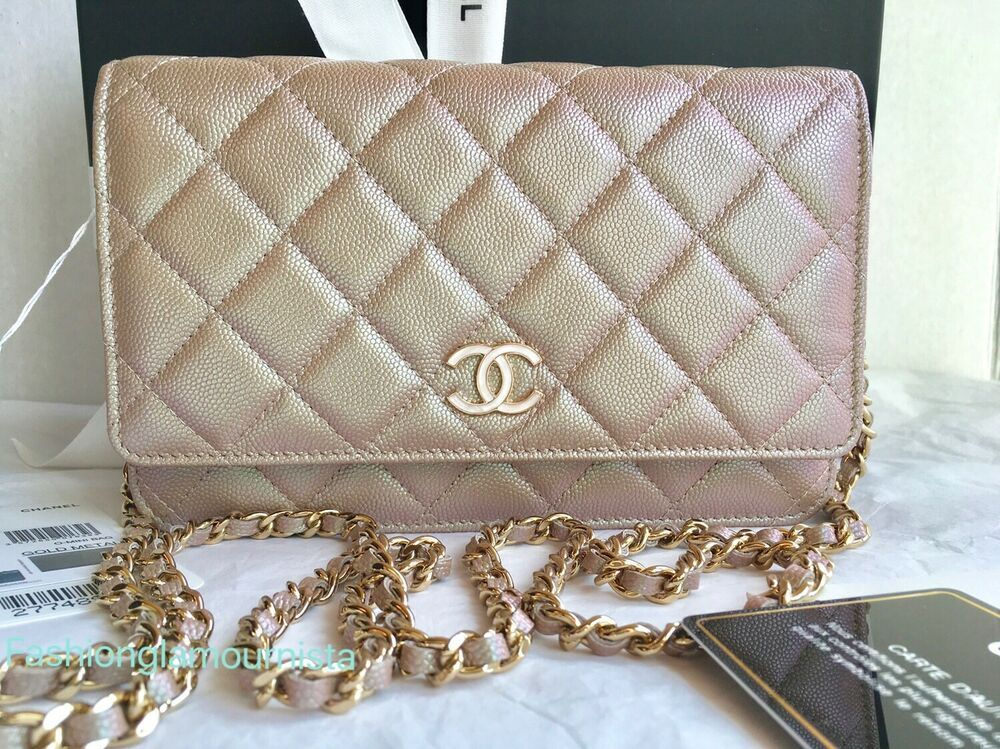 e9efb0b54981 Auth BNIB Chanel Classic Boy WOC Iridescent Beige Rectangle Mini Bag Clutch  19S
