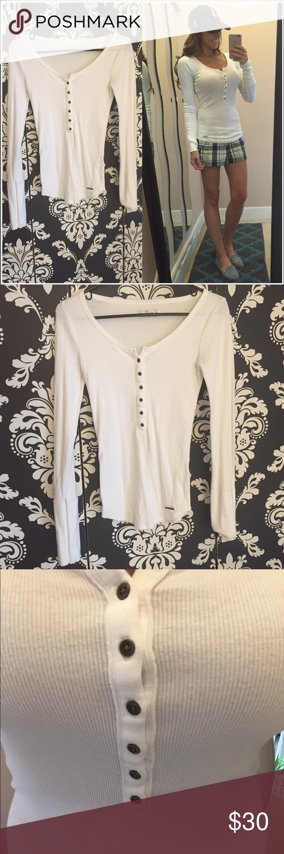 Ribbed Henley top from A&F White top with front buttons. Fitted long sleeve shirt. Size S. EUC. Abercrombie & Fitch Tops Tees - Long Sleeve