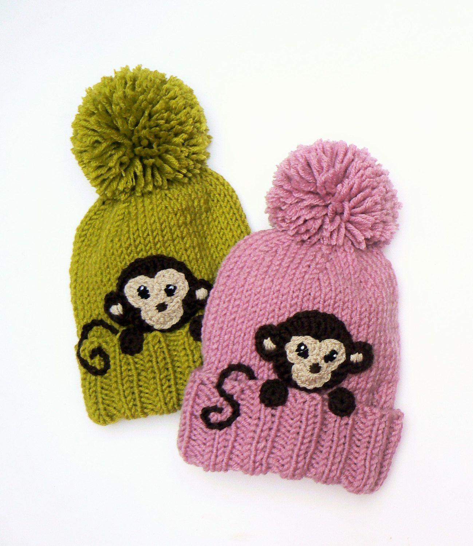 Kids Winter Hat, Monkey Hat, Pom Pom Hat, Knit Hat, Knitted Beanie ...