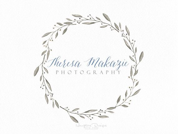 Round circle wreath watercolor Clean modern classic logo design Watermark by Hampton Photography & Designs