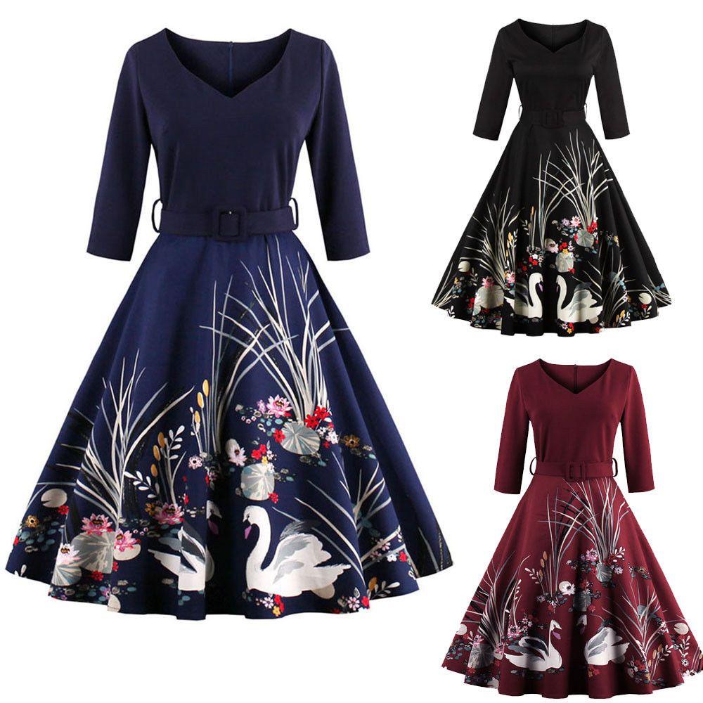 ea65f5d3b3 Plus Size S-4XL Women 50s Vintage Style Swing Evening Party ...