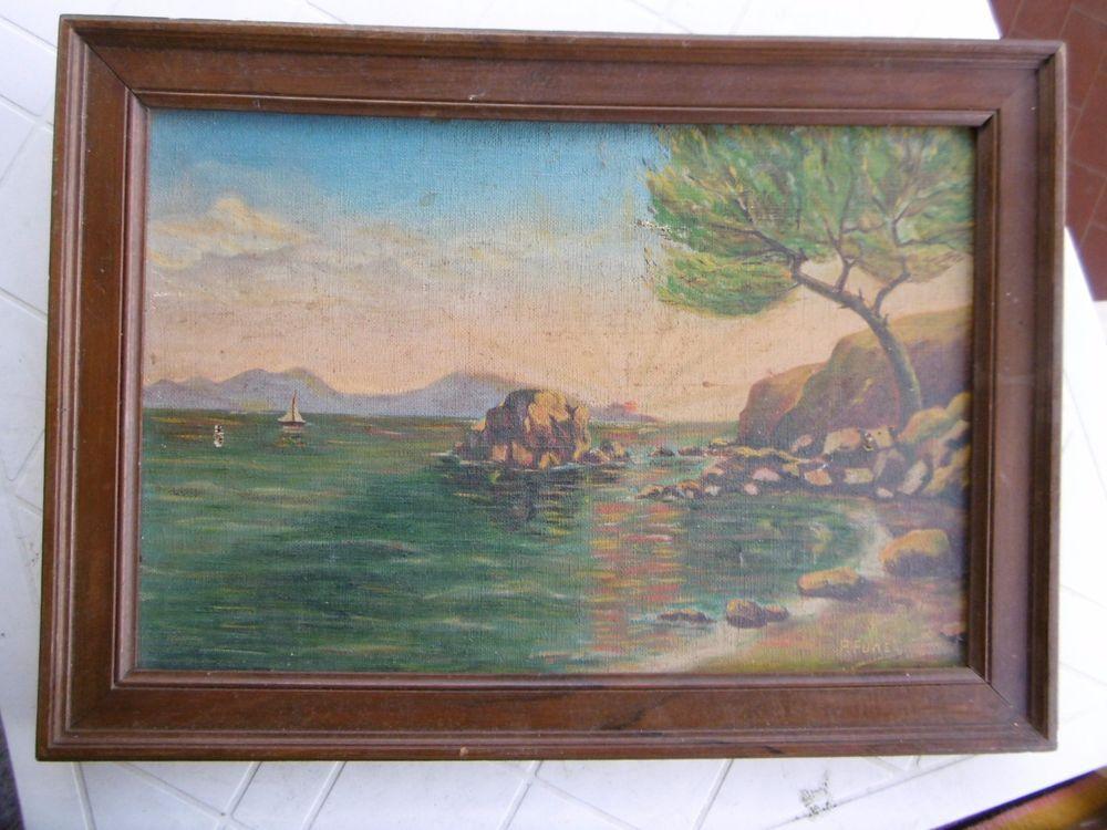 """Détails sur Peinture ancienne encadré sur toile signé""""P.FUNEL""""paysage marin,bateau à voir ..."""