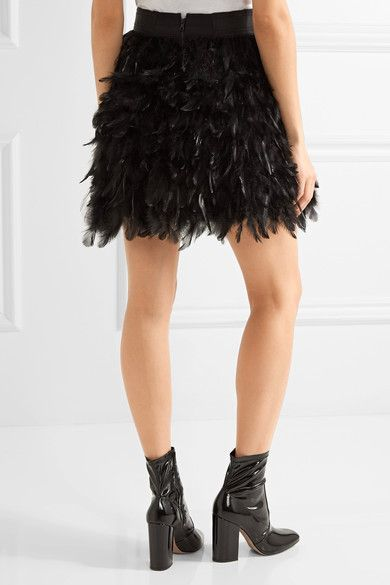 Alice Olivia - Cina Feather-embellished Tulle Mini Skirt - Black - US12