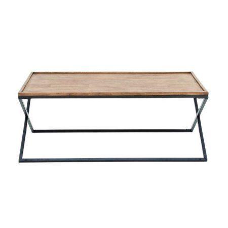 Metal Wood Coffee Table 48 inchW, 19 inchH, Light Brown, Black