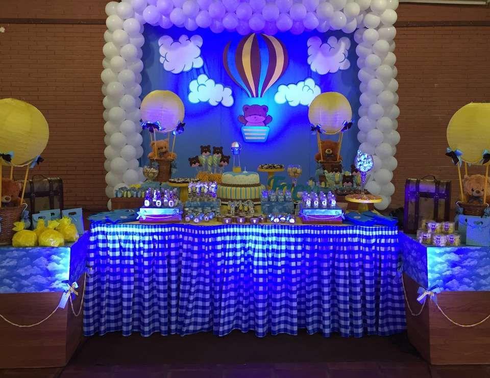 1st birthday baby boy hot air balloon party hot