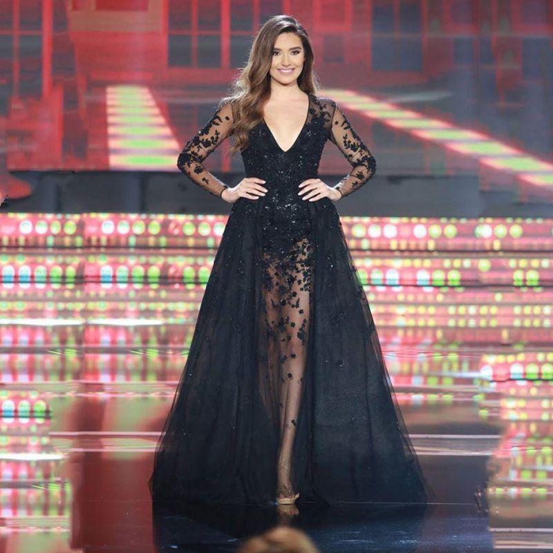 f814790b08 Black Long Sleeve Lace Prom Dresses Detachable Train Removable Skirt ...